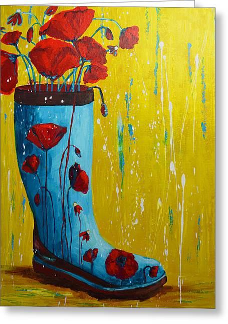 Fineartamerica Greeting Cards - Rain Boot Series Unusual Flower Pots Greeting Card by Patricia Awapara