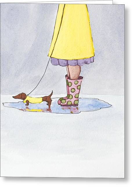 Puddle Drawings Greeting Cards - Rain Boots Greeting Card by Christy Beckwith
