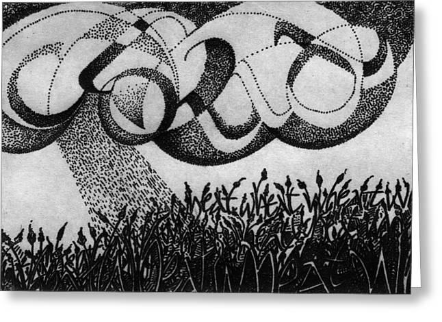 Calligraphy Print Digital Art Greeting Cards - Rain Dance Greeting Card by Sid Freeman