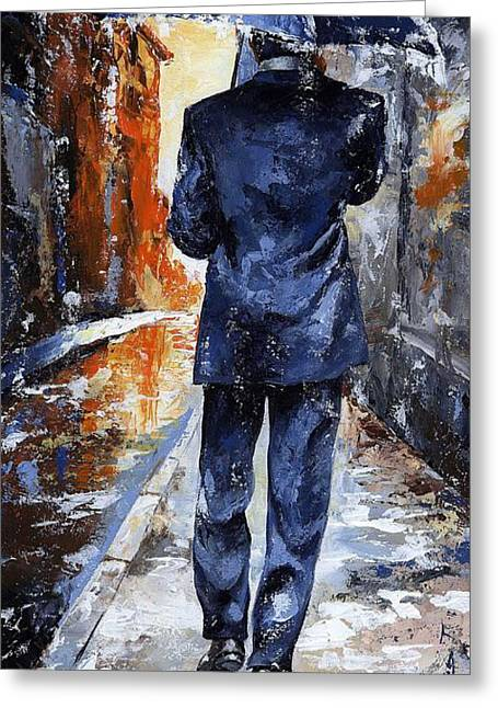 Black Man Paintings Greeting Cards - Rain day #20 Greeting Card by Emerico Imre Toth