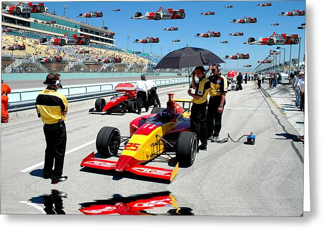 Indy Car Greeting Cards - Rain Delay Greeting Card by Kevin Cable