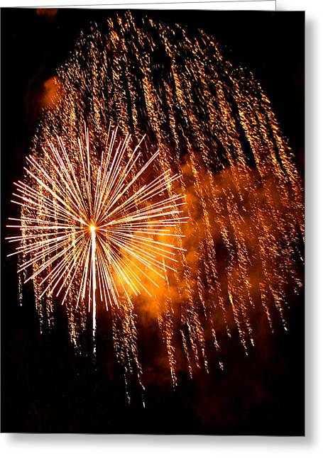 Fire Works Greeting Cards - Rain Down on Me Greeting Card by Angie Wingerd