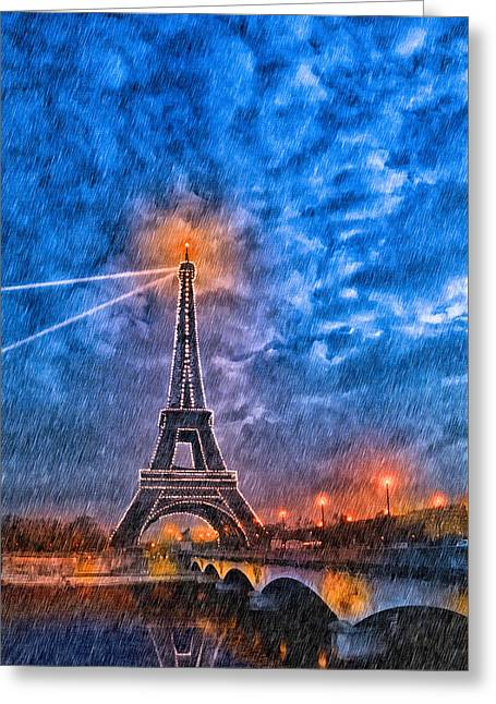 Rain Falling On The Eiffel Tower At Night In Paris Greeting Card by Mark E Tisdale