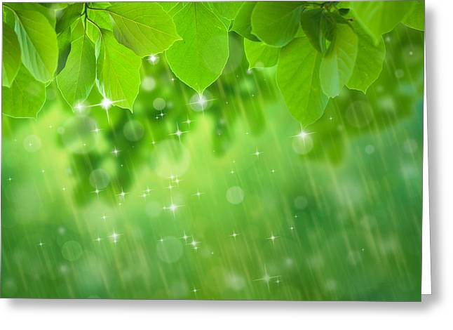 Abstract Rain Greeting Cards - Rain Falls Greeting Card by Atiketta Sangasaeng