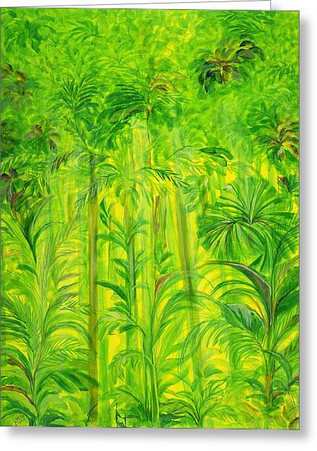Exotic Plant Greeting Cards - Rain Forest, Malaysia, 1990 Acrylic On Canvas Greeting Card by Laila Shawa