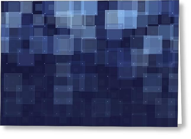 Geometric Shape Greeting Cards - Rain Geometric Squares Pattern Greeting Card by Frank Ramspott