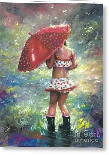 Vickie Wade Paintings Greeting Cards - Rain Girl Liliana Greeting Card by Vickie Wade
