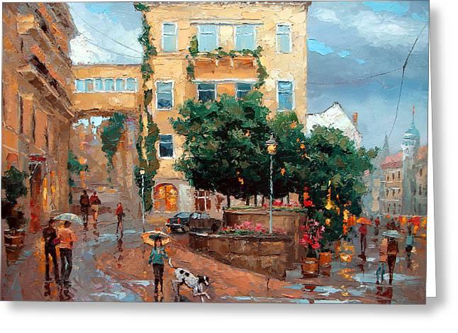 Crosswalk Paintings Greeting Cards - Rain in Baden Baden Greeting Card by Dmitry Spiros
