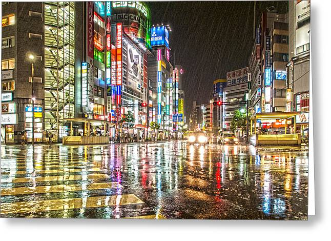 Citys Greeting Cards - Rain In Ikebukuro Japan Greeting Card by Clive Eariss
