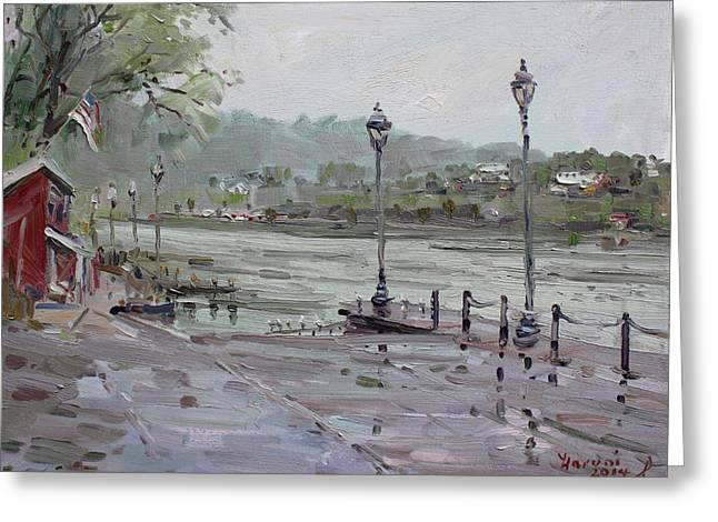 Rain In Lewiston Waterfront Greeting Card by Ylli Haruni