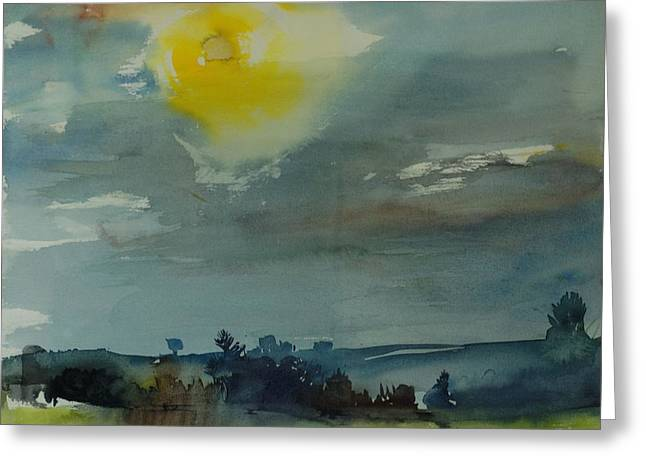 Ominous Sky Greeting Cards - Rain In The Air, 1981 Wc On Paper Greeting Card by Brenda Brin Booker