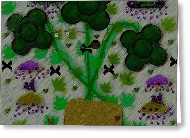 Decorative Fish Greeting Cards - Rain In The Poker Forest Greeting Card by Pepita Selles