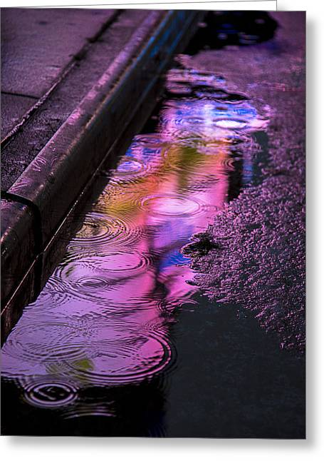 Gutter Greeting Cards - Rain in the street Greeting Card by Garry Gay
