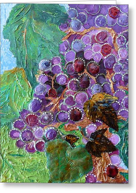 Pinot Mixed Media Greeting Cards - Rain in the Vineyard Greeting Card by Rhonda Chase
