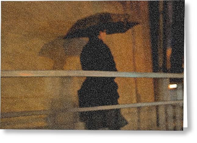 Evgeniya Vlasova Greeting Cards - Rain. Lady in Black. Impressionism Greeting Card by Jenny Rainbow
