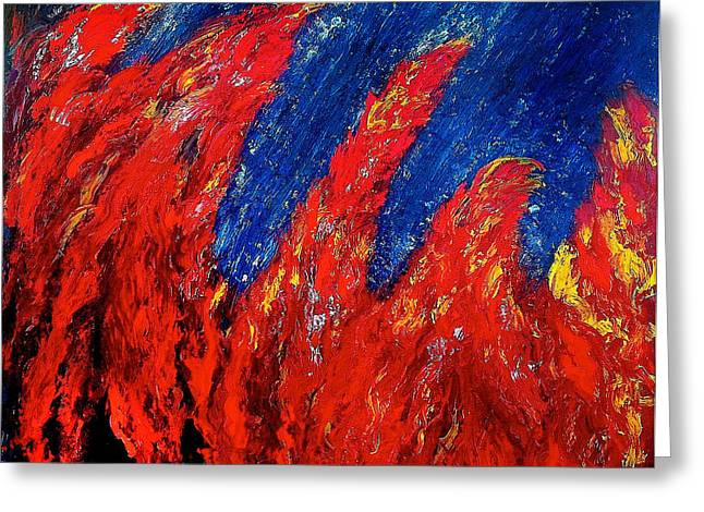 Adele Paintings Greeting Cards - Rain on Fire Greeting Card by Ania M Milo