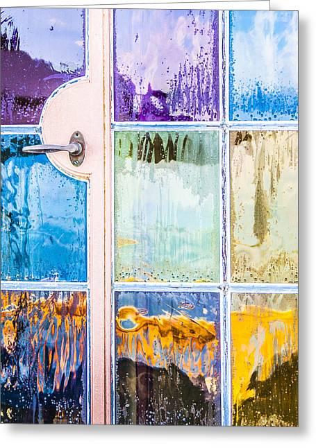 Purple Abstract Greeting Cards - Rain On My Windows Greeting Card by Carolyn Marshall