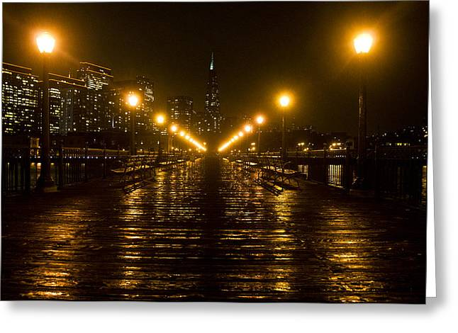 Downtown San Francisco Greeting Cards - Rain On Pier 7 Along The Embarcadero In San Francisco Greeting Card by Scott Lenhart