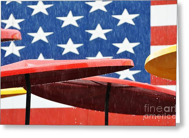 Rain Season Greeting Cards - Rain On The Fourth Of July Greeting Card by Adspice Studios