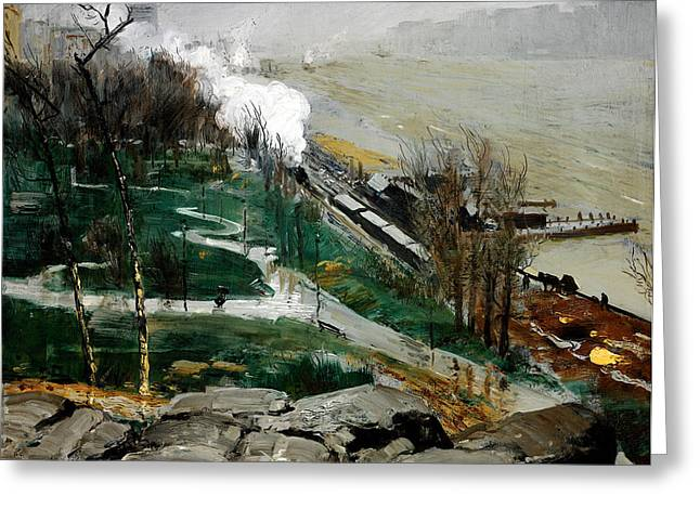 Bravery Greeting Cards - Rain on the River Greeting Card by George Wesley Bellows