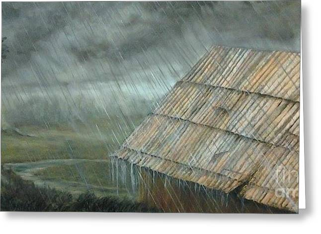 Tin Roof Paintings Greeting Cards - Rain on the Roof Greeting Card by Affordable Art Halsey