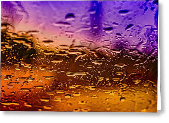 Rain on Windshield Greeting Card by J Riley Johnson