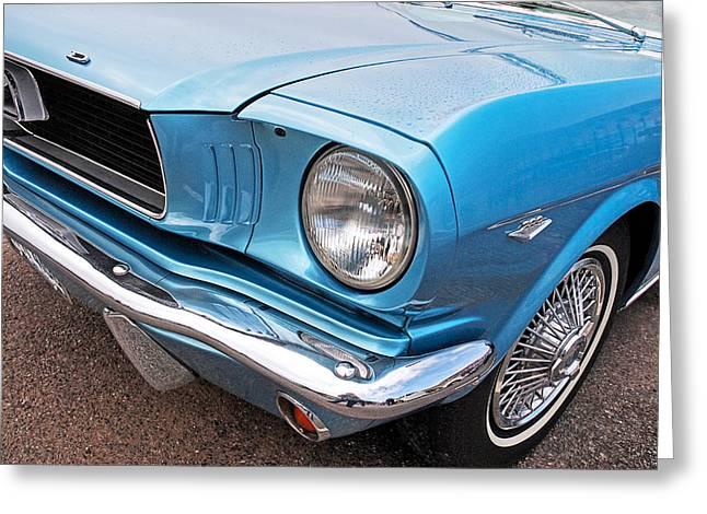 Ford Custom V8 Greeting Cards - Rain or Shine - 66 Mustang Greeting Card by Gill Billington