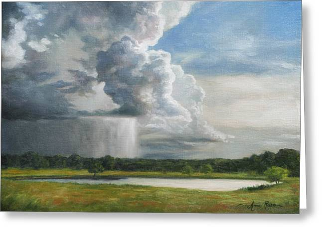 Field. Cloud Paintings Greeting Cards - Rain Over Oklahoma Greeting Card by Anna Bain