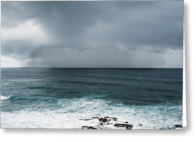 Surfer Art Greeting Cards - Rain Over the Ocean Greeting Card by Parker Cunningham