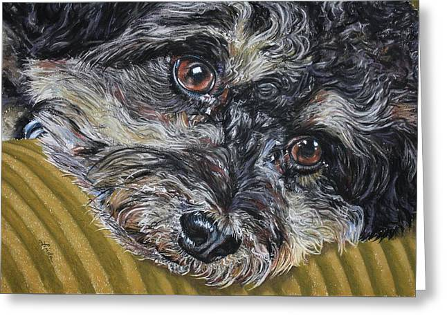 Puppies Pastels Greeting Cards - Rain rain go away Greeting Card by Linda Eversole