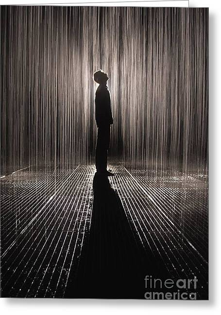 Man Pyrography Greeting Cards - Rain Room Greeting Card by Alexis Cruz