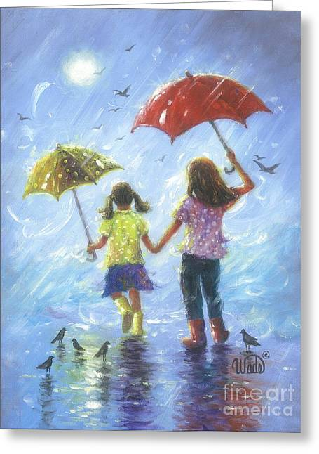 Vickie Wade Paintings Greeting Cards - Rain Sisters Greeting Card by Vickie Wade