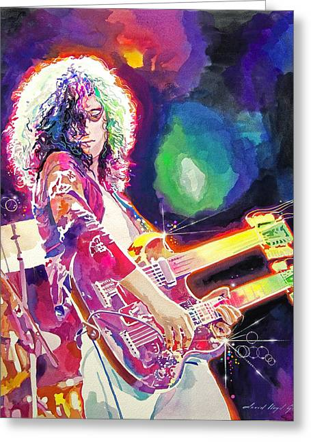 Jimmy Page Paintings Greeting Cards - Rain Song Jimmy Page Greeting Card by David Lloyd Glover