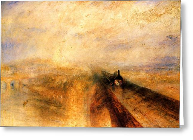 Jmw Greeting Cards - Rain Steam and Speed. The Great Western Railway Greeting Card by Joseph Mallord William Turner