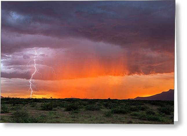 Rain Storm At Sunset Greeting Card by Roger Hill