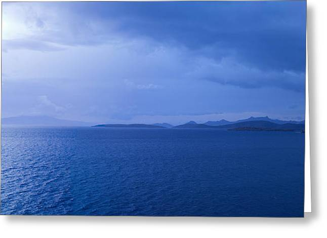 Overcast Day Greeting Cards - Rain Storm In The Sea, Bodrum, Mugla Greeting Card by Panoramic Images