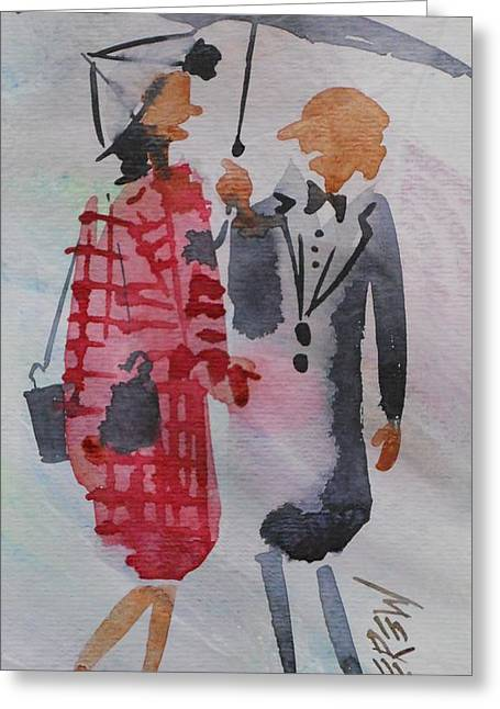 Family Walks Drawings Greeting Cards - Rain Talking Greeting Card by Larry Lerew