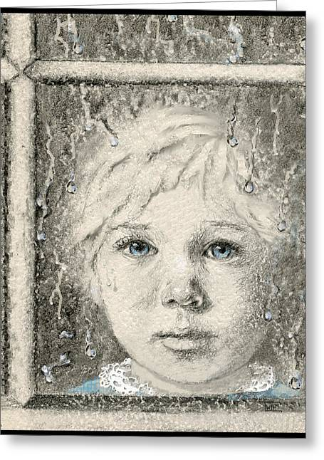 Pensive Mixed Media Greeting Cards - Rain  Greeting Card by Terry Webb Harshman