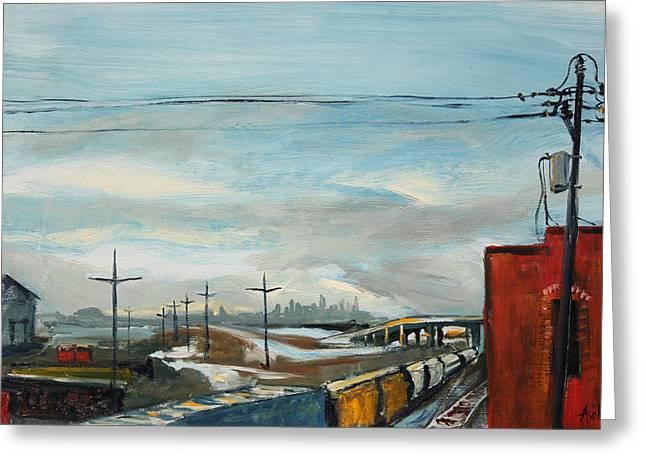 Rain Train Greeting Card by Asha Carolyn Young