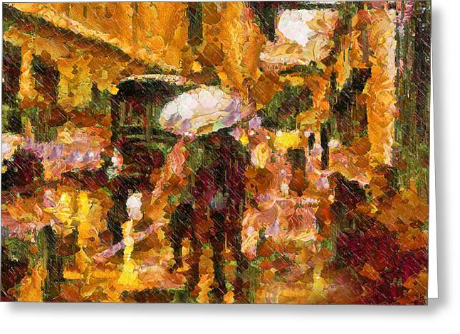 Night Scene Prints Greeting Cards - Rain Walk At Night Abstract Greeting Card by Georgiana Romanovna