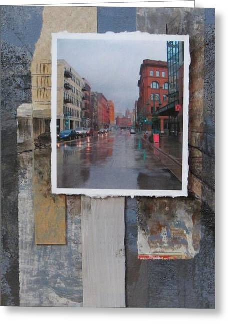 Newspaper Collage Greeting Cards - Rain Water Street  Greeting Card by Anita Burgermeister