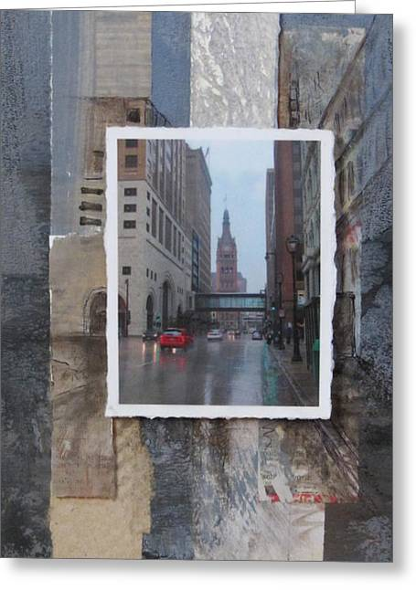 Newspaper Collage Greeting Cards - Rain Water Street w City Hall Greeting Card by Anita Burgermeister