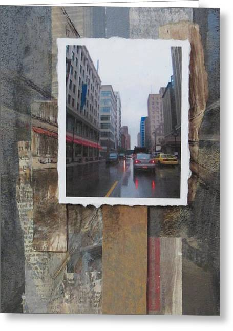 Rain Wisconcin Ave Tall View Greeting Card by Anita Burgermeister