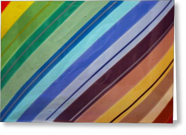 Stripes Glass Art Greeting Cards - Rainbo in fused glass Greeting Card by Marsha Painter