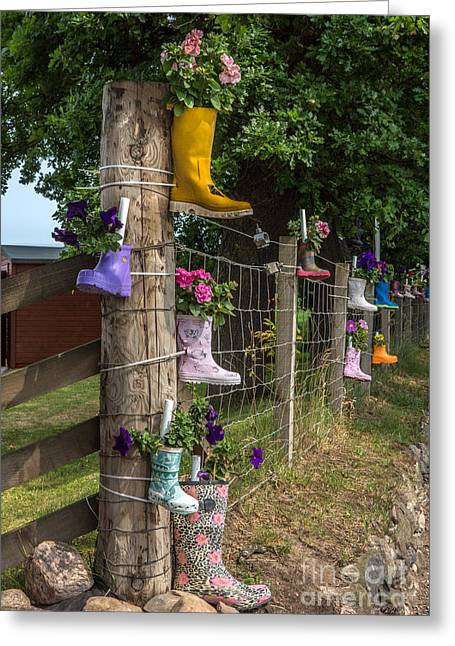 Owner Greeting Cards - Rainboots Flowerpots Greeting Card by Iris Richardson
