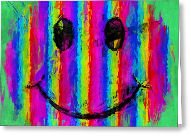 Smiley Faces Greeting Cards - Rainbow Abstract Smiley Face Greeting Card by David G Paul