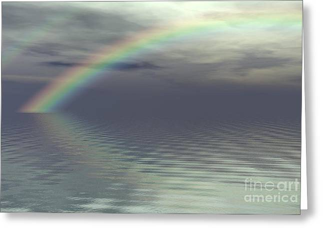 Double Rainbow Digital Art Greeting Cards - Rainbow After the Storm Greeting Card by Fairy Fantasies