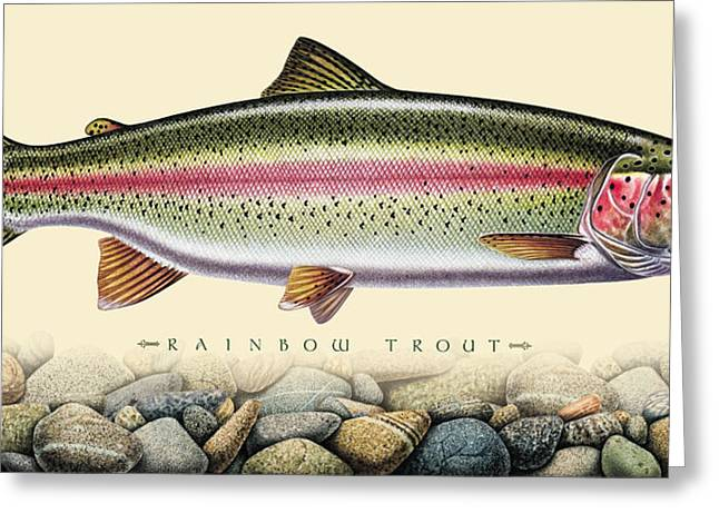 """rainbow Trout"" Greeting Cards - Rainbow and Stones Greeting Card by JQ Licensing"