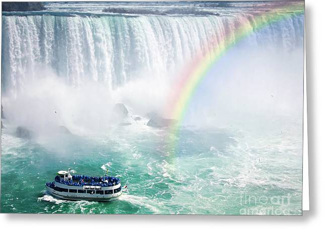 Rainbow and tourist boat at Niagara Falls Greeting Card by Elena Elisseeva
