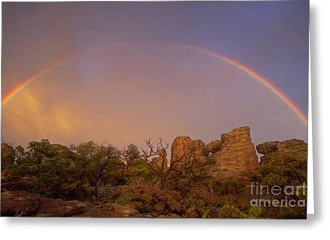 Double Rainbow Greeting Cards - Rainbow at Chiricahua Greeting Card by Keith Kapple